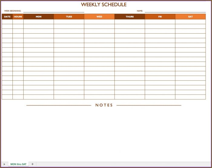 Printable Weekly Employee Schedule Template