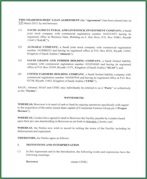 Shareholder Loan Agreement Template Free