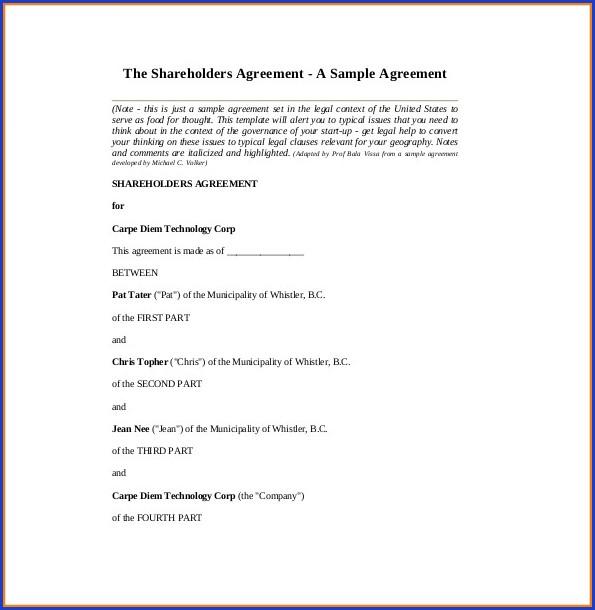 Shareholders Agreement Template Word Uk