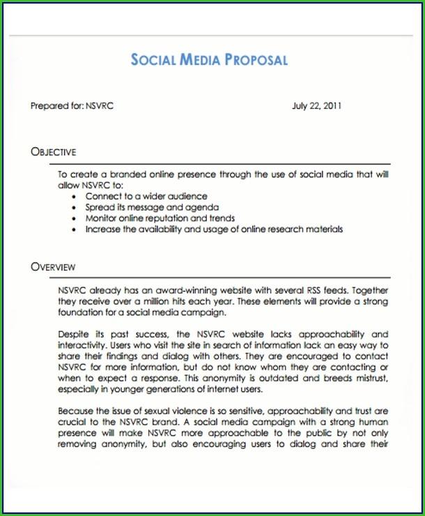 Social Media Proposal Template Free