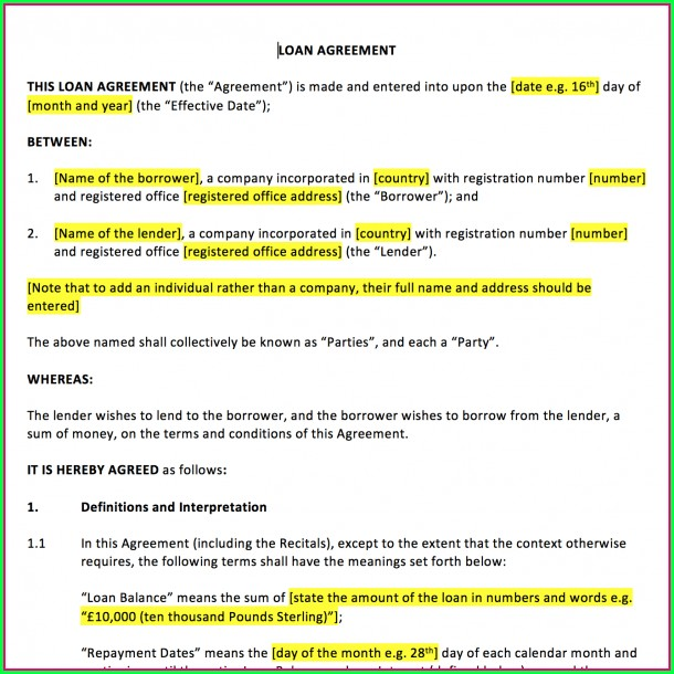 Standard Loan Agreement Template Uk