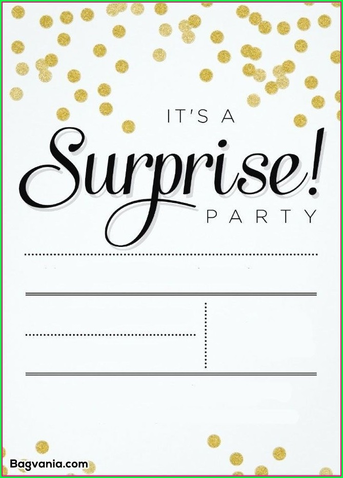 Surprise Party Invite Template