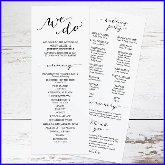 Wedding Ceremony Pamphlet Template