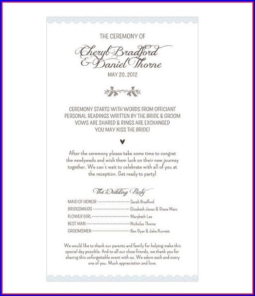 Wedding Pamphlet Template Word