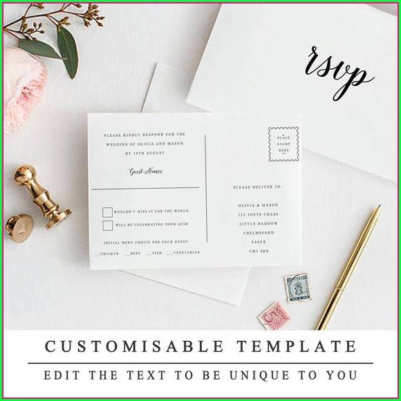 Wedding Rsvp Postcard Template