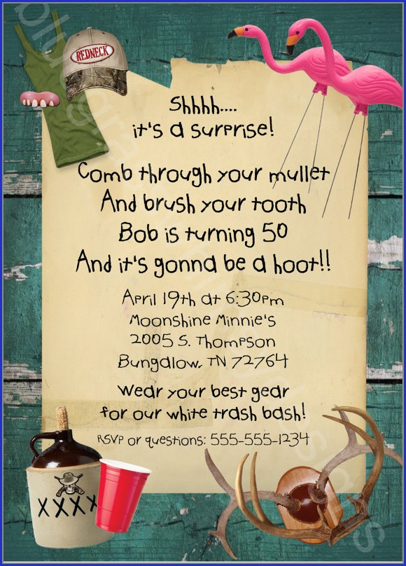 White Trash Party Invitation Templates