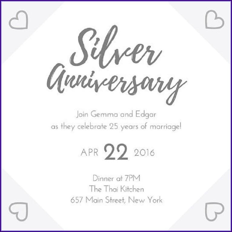 25th Wedding Anniversary Invitations Templates