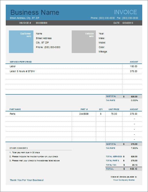 Automotive Invoice Template