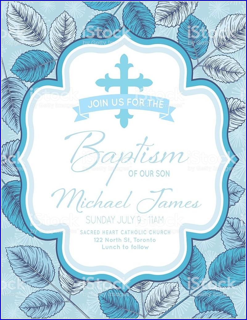 Baby Boy Free Baptism Invitation Template