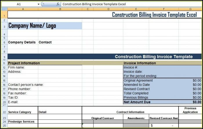 Billing Report Template Excel