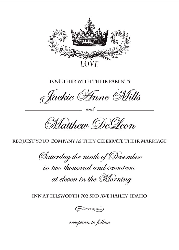 Blank Crown Invitation Template