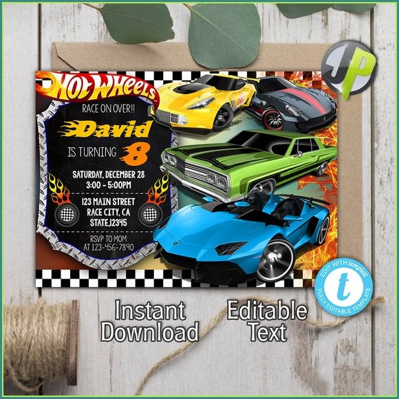 Blank Hot Wheels Invitation Template