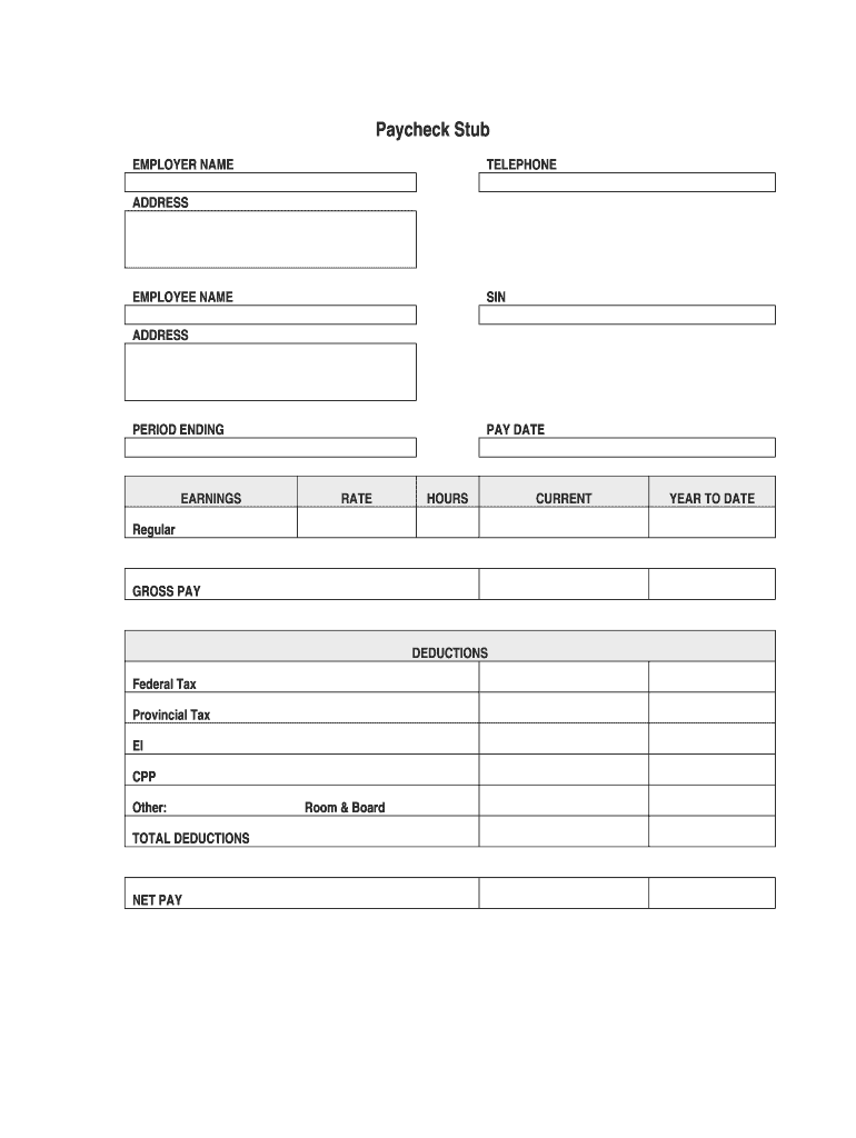 Blank Paycheck Stub Template