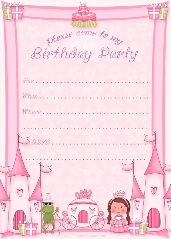 Blank Princess Crown Invitation Template
