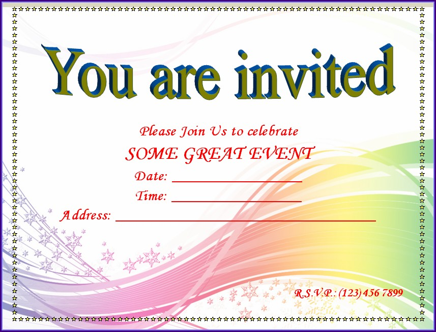 Blank Templates For Invitation Cards