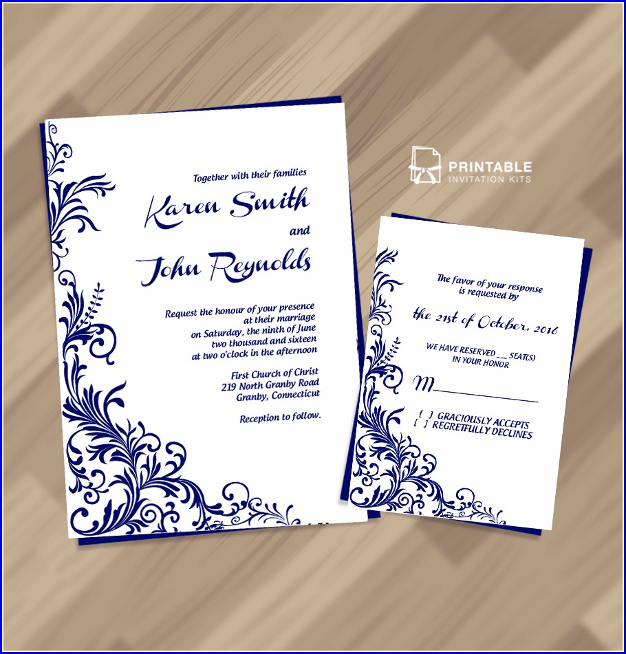 Border Royal Blue Wedding Invitation Templates Free