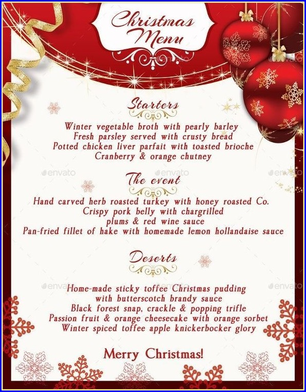 Christmas Menu Template Free Download Word