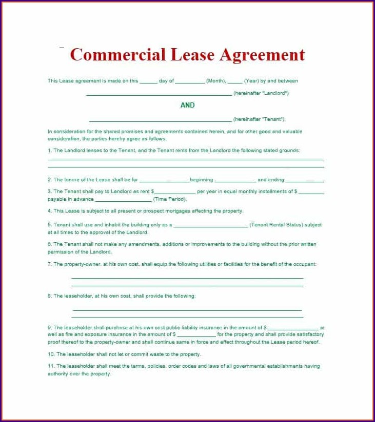 Commercial Lease Agreement Template Free Pdf Uk