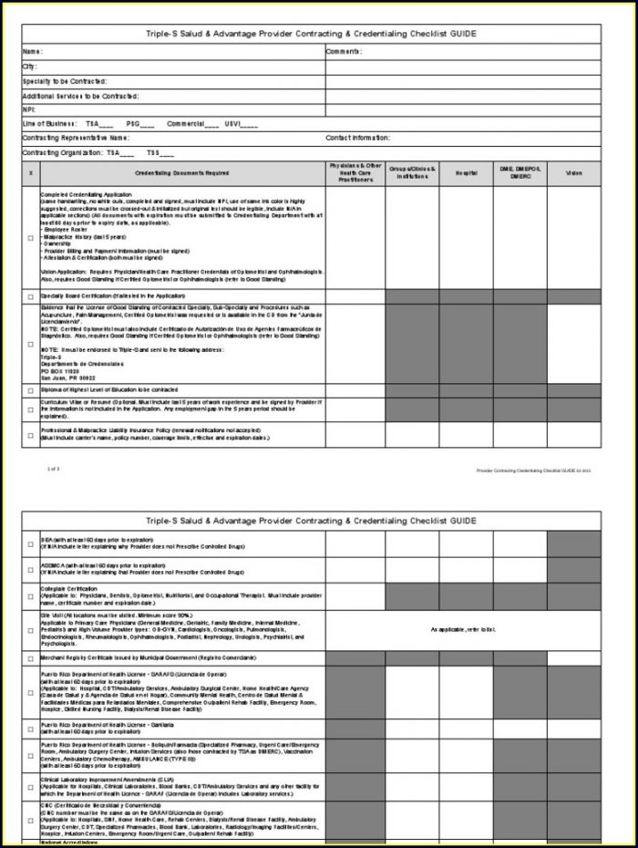 Credentialing Checklist Template