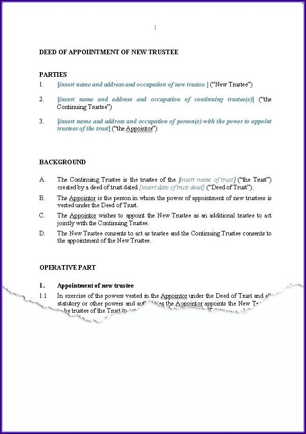 Deed Of Trust Template Australia