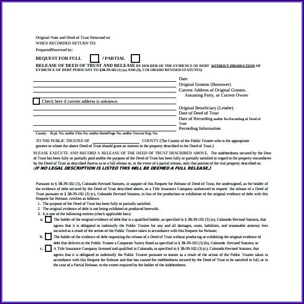 Deed Of Trust Template Uk Free