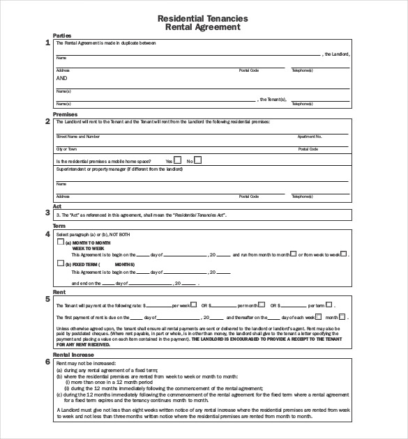 Downloadable Free Tenancy Agreement Template Word