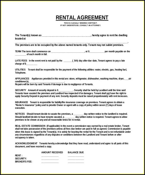 Downloadable Lease Agreement Template Word