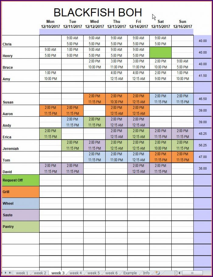 Excel Restaurant Schedule Template