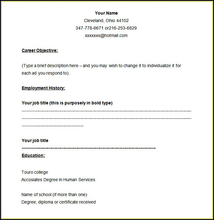 Fill In Blank Downloadable Free Resume Templates Word