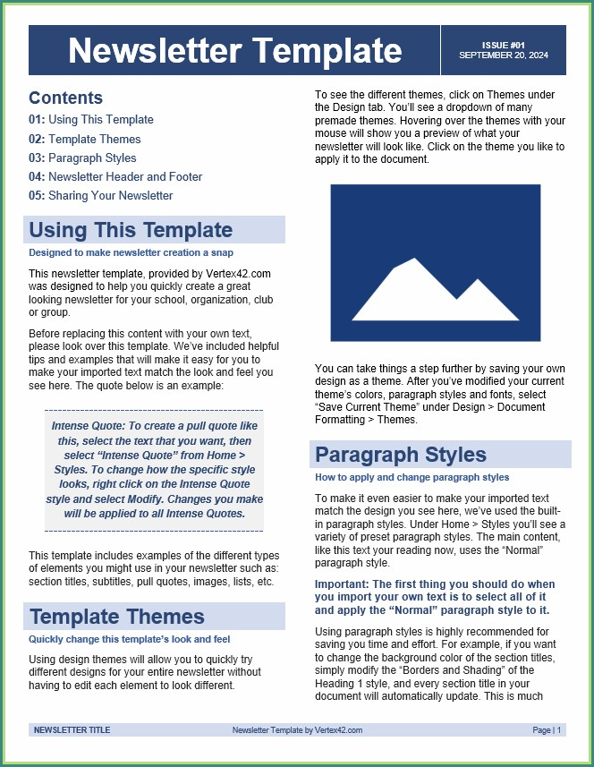 Free Newsletters Templates