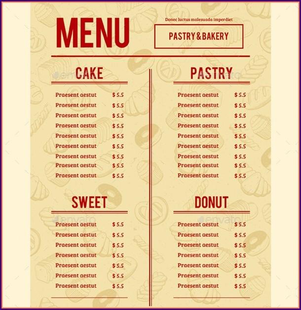 Free Printable Bakery Menu Templates