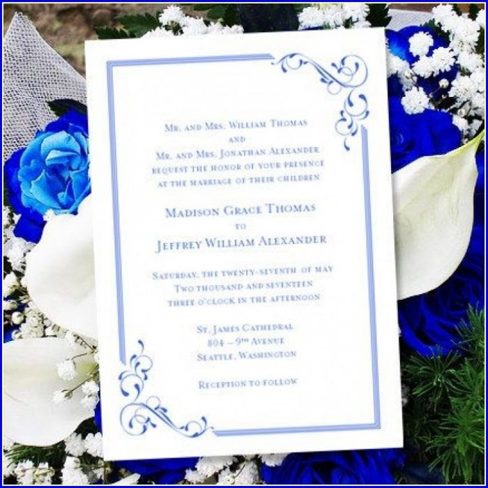 Free Printable Blank Wedding Invitation Templates Royal Blue