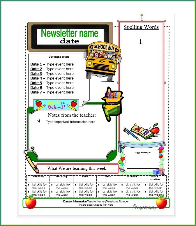 Free Templates For School Newsletters