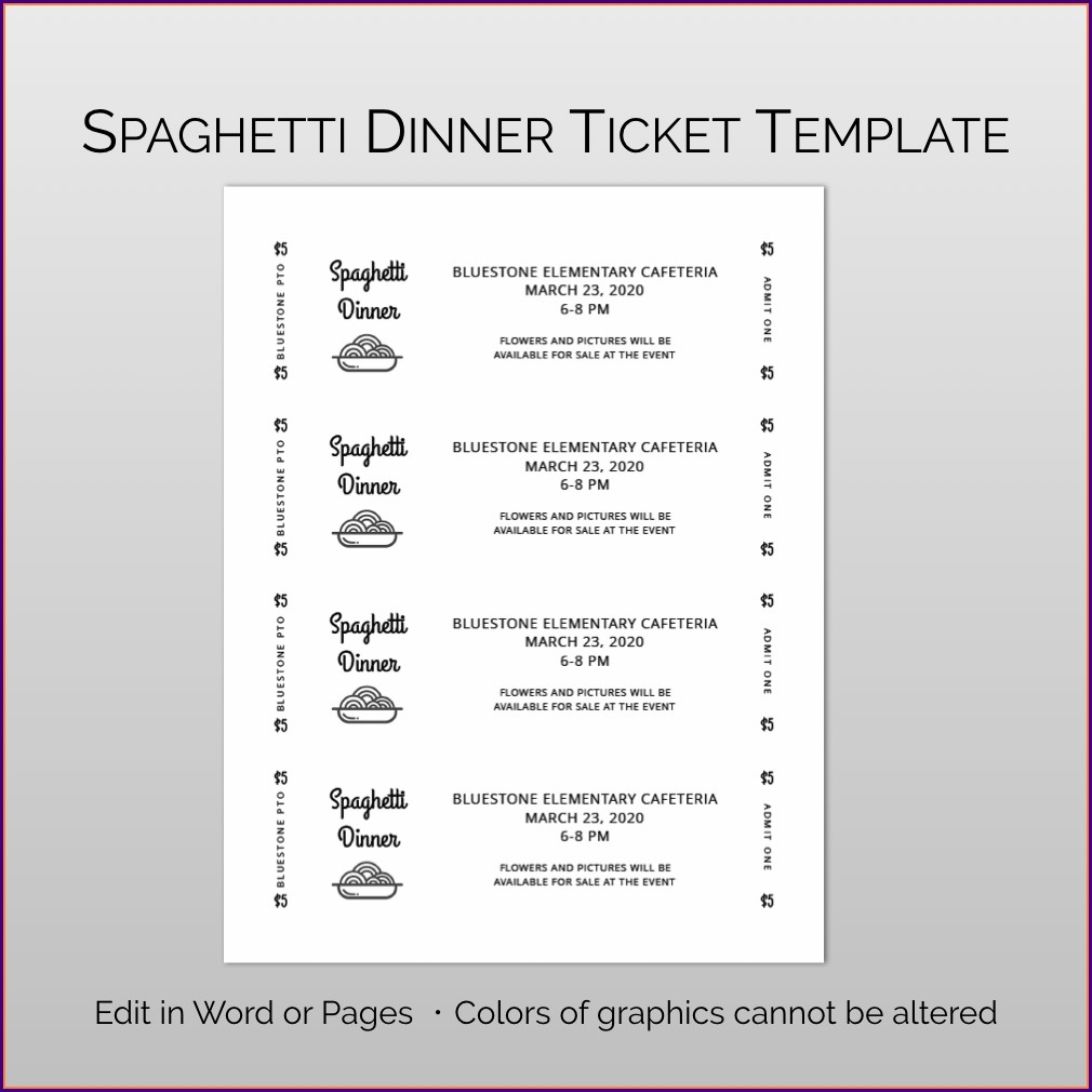 Fundraiser Dinner Tickets Template