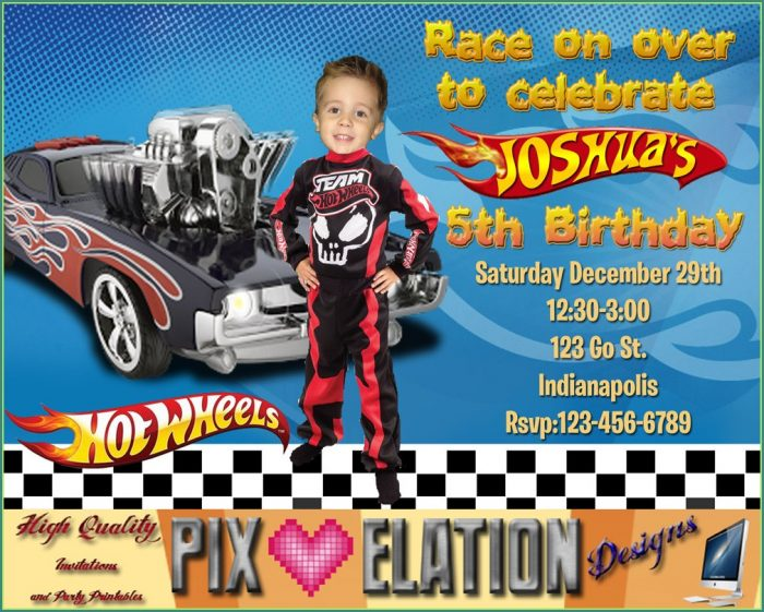 Happy Birthday Hot Wheels Invitation Template