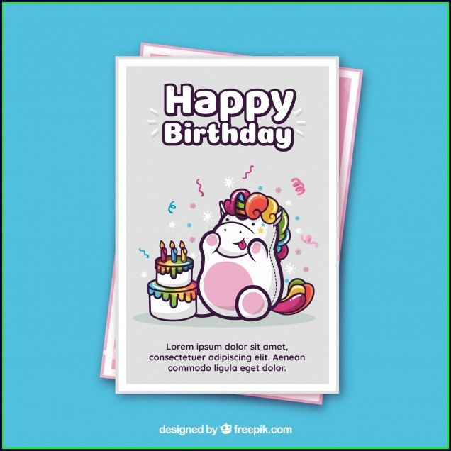Happy Birthday Unicorn Birthday Card Template