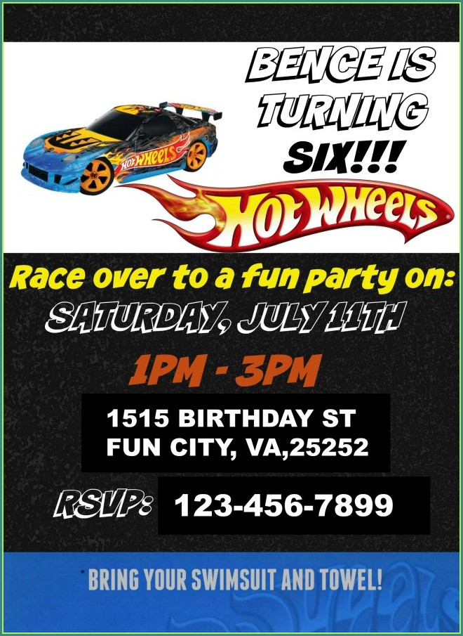 Hot Wheels Birthday Invitation Template Free