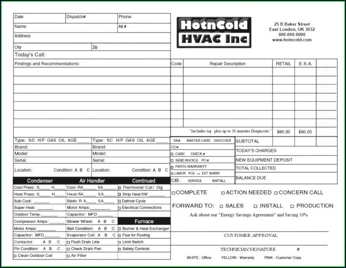Hvac Estimate Template