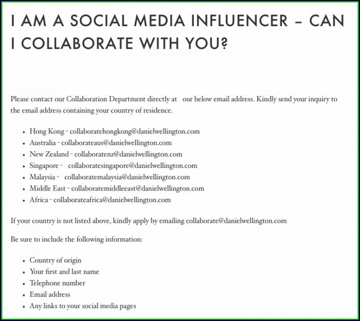 Influencer Marketing Email Template