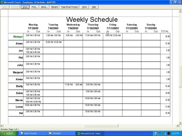 Monthly Work Schedule Template 2018