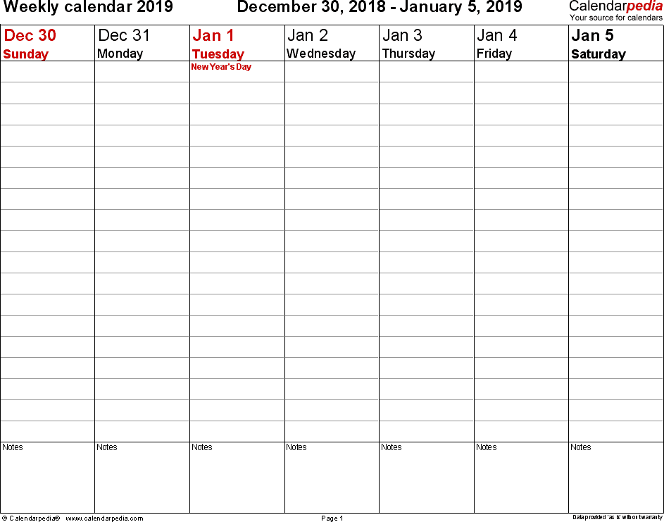 Monthly Work Schedule Template 2019