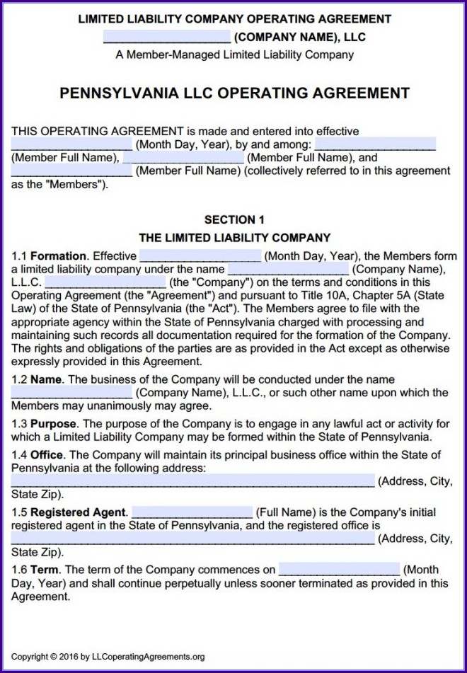 Multi Member Llc Operating Agreement Template Pennsylvania