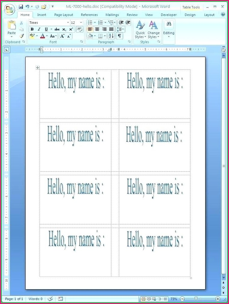 Name Tag Label Template Word