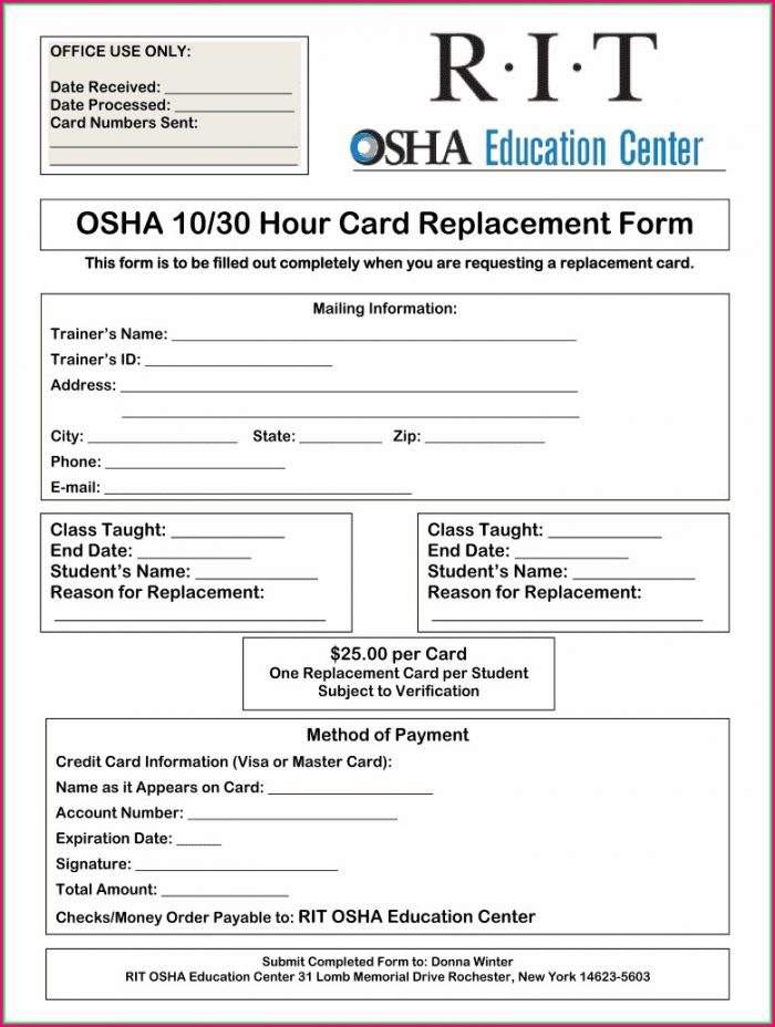 Osha 30 Card Template