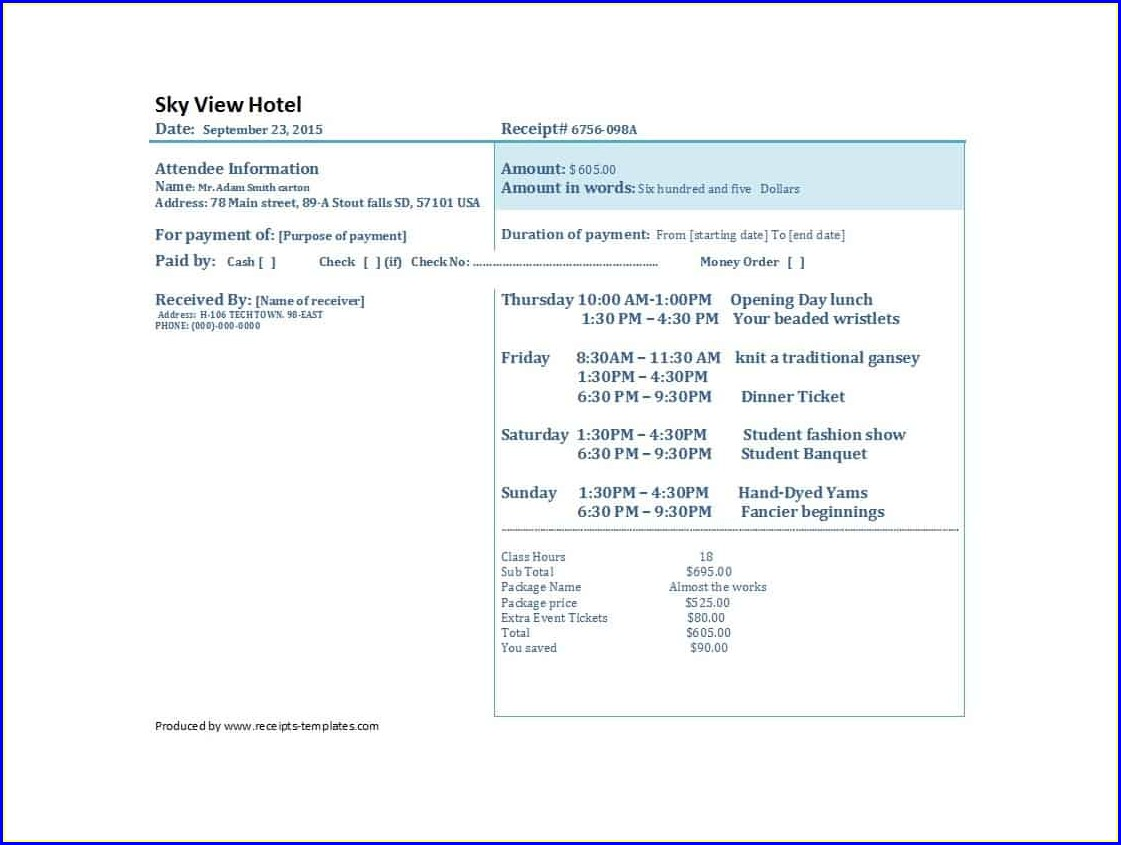 Payment Fake Hotel Receipt Template