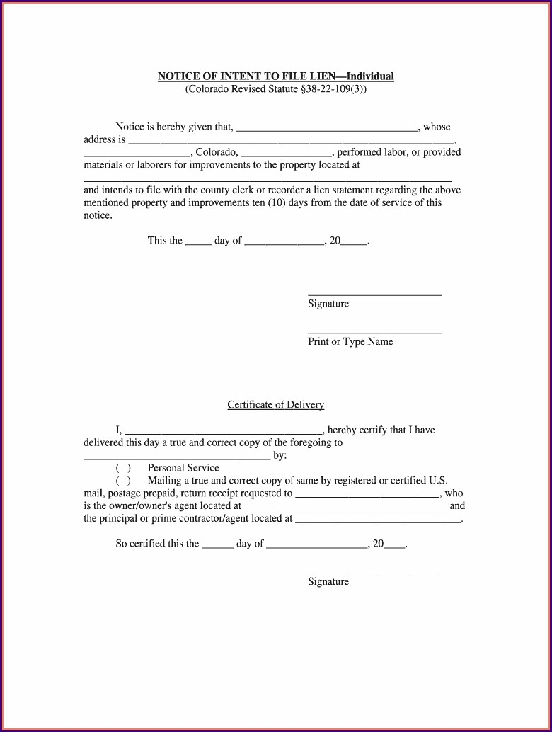 Pdf Intent To Lien Letter Template Texas