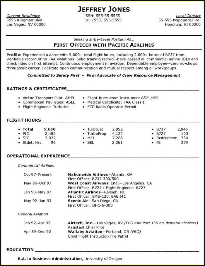 Pilot Aviation Resume Template
