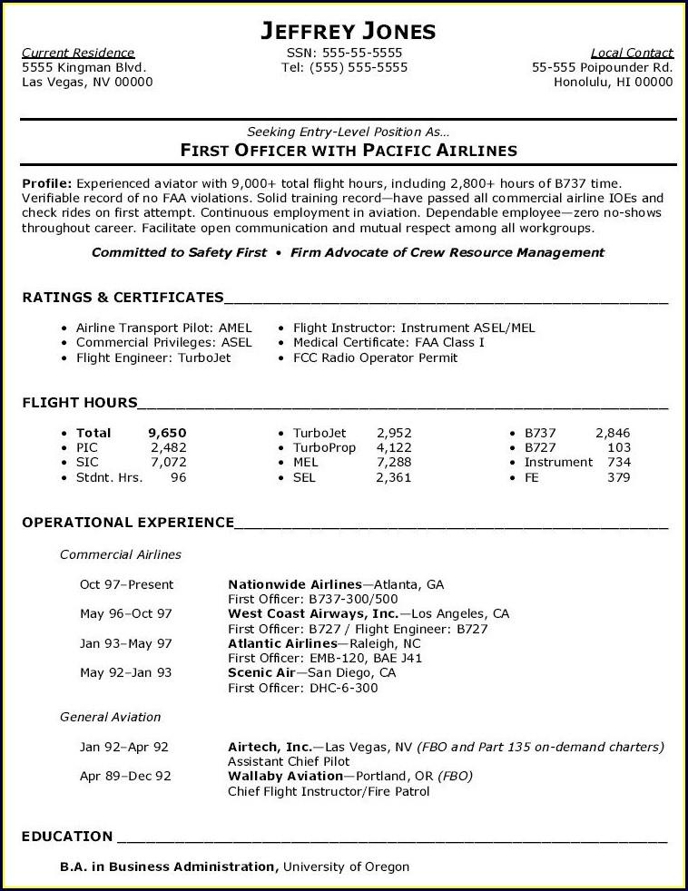 Pilot Aviation Resume Template