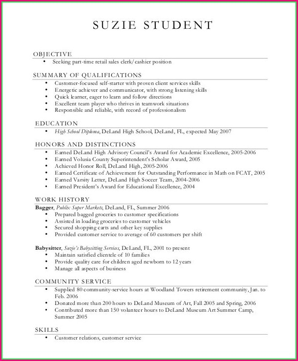 Printable Blank High School Resume Template
