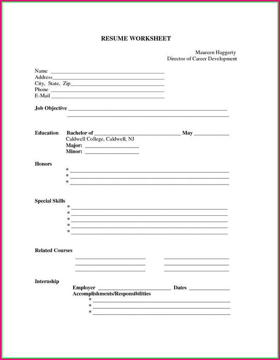 Printable Blank Resume Template Pdf